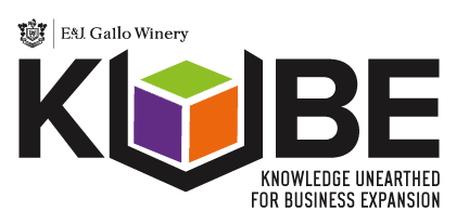 Logo for E&J Gallo Winery KUBE. Knowledge unearthed for business expansion.